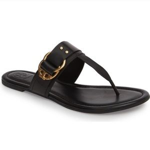 Tory Burch Marsden Leather Logo Thong Sandal Black